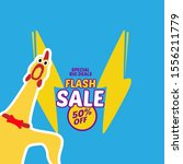 flash sale icon with chicken... | Shutterstock .eps vector #1556211779