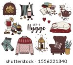 hand drawn hygge set. cute... | Shutterstock .eps vector #1556221340