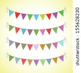 lines of colourful bunting | Shutterstock .eps vector #155628230