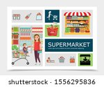 flat supermarket colorful... | Shutterstock .eps vector #1556295836