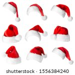 Santa Claus Red Hats Isolated...
