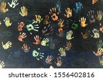 Handprints Made By Colored ...