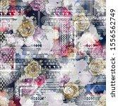 floral paisley blue pattern... | Shutterstock . vector #1556562749
