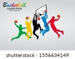 visual drawing basketball sport ... | Shutterstock .eps vector #1556634149
