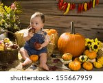 Baby Playing In A Wooden Shed...