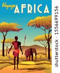 africa travel poster with a... | Shutterstock .eps vector #1556699156