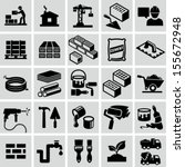 Construction, building materials, construction equipment icons - stock vector