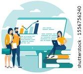 flat design web page design... | Shutterstock .eps vector #1556756240