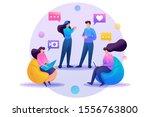 friends correspond online  chat ...   Shutterstock .eps vector #1556763800