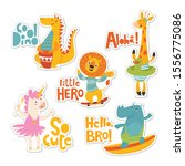 set of stickers with cartoon...   Shutterstock .eps vector #1556775086
