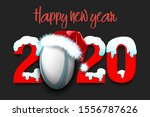 snowy new year numbers 2020 and ... | Shutterstock .eps vector #1556787626