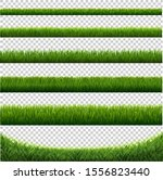 big set green grass borders... | Shutterstock .eps vector #1556823440