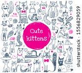 cat doodle set. cute sketch... | Shutterstock .eps vector #1556829059