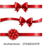 silk red bow and white... | Shutterstock . vector #1556833259