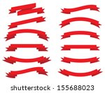 vector collection  red ribbons | Shutterstock .eps vector #155688023