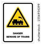 danger beware of trains symbol... | Shutterstock .eps vector #1556954399