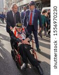 Small photo of 5th Avenue, Manhattan, New York, USA - November 11, 2019: 100th Annual Veteran Day Parade; Senator C huckster's Schumer