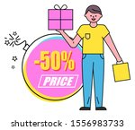 guy stand and hold vector box... | Shutterstock .eps vector #1556983733