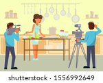 woman cooking and film crew... | Shutterstock .eps vector #1556992649