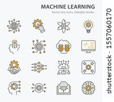 machine learning icons icons ... | Shutterstock .eps vector #1557060170