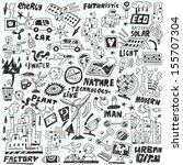 ecology   technology   doodles... | Shutterstock .eps vector #155707304