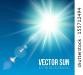 the bright sun shines on a blue ... | Shutterstock .eps vector #155712494