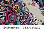 music hand drawn doodle banner. ...   Shutterstock .eps vector #1557169619