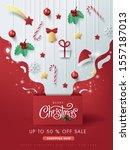 merry christmas sale banner... | Shutterstock .eps vector #1557187013