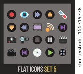 flat icons set 5   media... | Shutterstock .eps vector #155719778
