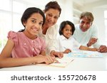 grandparents helping children... | Shutterstock . vector #155720678