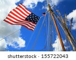 An American Flag  Mast And...