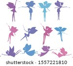 Set Of Silhouette Fairies In...