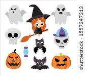 halloween symbols collection... | Shutterstock .eps vector #1557247313
