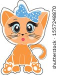 Stock vector cute kitten vector illustration isolated on white background sticker red cat in cartoon style 1557248870