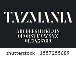 elegant geometric stencil font... | Shutterstock .eps vector #1557255689