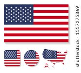 set of vector icons with flag... | Shutterstock .eps vector #1557275369