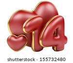 red inscription 14 and red heart in a gold frame. 3d an illustration isolat on a white background - stock photo
