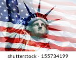 Statue Of Liberty With Flag Of...