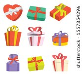 set of different color gift... | Shutterstock .eps vector #1557354296