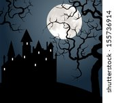 halloween landscape with castle ... | Shutterstock .eps vector #155736914