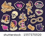 old school tattoo stickers set. ... | Shutterstock .eps vector #1557370520
