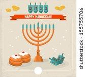 happy hanukkah greeting card... | Shutterstock .eps vector #155755706