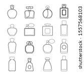 perfume icon set in line art... | Shutterstock .eps vector #1557568103