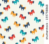 seamless pattern with horses.    | Shutterstock .eps vector #155758868