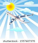 flying airplane in the sky... | Shutterstock .eps vector #1557607370