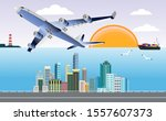 flying airplane in the sky... | Shutterstock .eps vector #1557607373