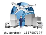 global logistics concept  3d... | Shutterstock .eps vector #1557607379