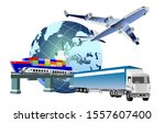 global logistics concept  3d... | Shutterstock .eps vector #1557607400
