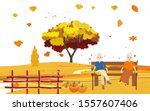 yellow colorfull autumn... | Shutterstock .eps vector #1557607406
