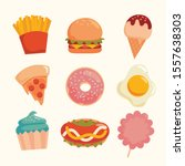 flat fast food colorful... | Shutterstock .eps vector #1557638303